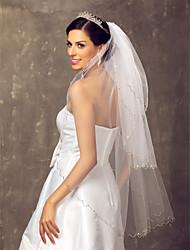 baratos -Três Camadas Véus de Noiva Véu Ponta dos Dedos Com 39,37 in (100cm) Tule Linha-A, Vestido de Baile, Princesa, Bainha/Coluna,