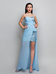 Sheath / Column Sweetheart Asymmetrical Sequined Georgette Cocktail Party Holiday Dress with Criss Cross Side Draping by TS Couture®