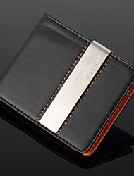 cheap -Personalized Gift Silver Metal and PU Leather Metal Money Clip (within 10 characters)