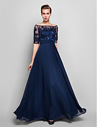 cheap -Sheath / Column Illusion Neckline Floor Length Chiffon Lace Over Tulle Formal Evening / Military Ball Dress with Beading Appliques Ruched