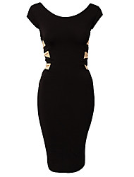SML XL XXL Plus Veličina Nova europska Moda Žene Seksi koljeno Duljina crna Bodycon zavoj prerušiti 9050