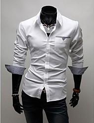 Masculino Camisa Casual Cor Solida Manga Comprida Misto de Algodão Preto / Vermelho / Branco