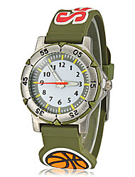 Недорогие -Детская Сплав Круглый циферблат Футбол Pattern силиконовой лентой Кварцевые аналоговые наручные часы (разных цветов)