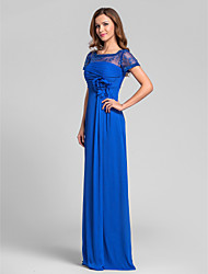 cheap -A-Line Square Neck Floor Length Chiffon Bridesmaid Dress with Beading / Lace / Ruched by LAN TING BRIDE® / See Through