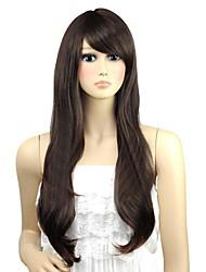 donna ondulate bel botto lato lungo parrucche sintetiche calore fibra resistente parrucca di capelli a buon mercato cosplay del partito