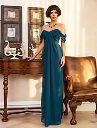 Sheath / Column Sweetheart Floor Length Georgette Formal Evening Military Ball Dress with Split Front Side Draping by TS Couture®