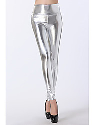 cheap -Women's Metallic Legging Solid Colored High Waist