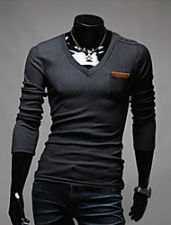 Langærmet Herrer Ensfarvet Afslappet/Hverdag T-shirt,Bomuld Polyester