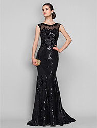 cheap -Mermaid / Trumpet Illusion Neck Sweep / Brush Train Tulle / Sequined Formal Evening / Black Tie Gala Dress with Sequin / Appliques by TS