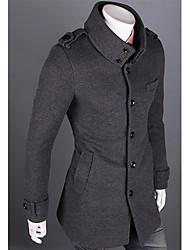 Dupla camada Trench Coat Collar Standing Masculina