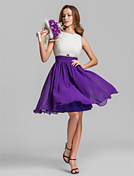 Bridesmaid Dress Lanting Bride® Short / Mini Georgette - A-line Jewel Plus Size / Petite with Criss Cross / Ruching