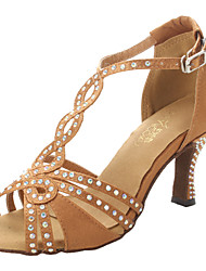 cheap -Women's Latin Salsa Ballroom Satin Sandal Heel Rhinestone Chunky Heel Bronze Non Customizable