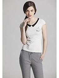 economico -Dolce Pan Collar Colore guaina Camicia casual Solid da Zoely Women White T 101121T054
