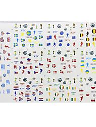 Недорогие -1PCS Большие Смешанные Кубок мира Pattern Nail Art Наклейки