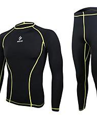 povoljno -Arsuxeo Muškarci Alapréteg - Crn Sportski Spandex Hlače / Baza Slojevi / Kompresivna odjeća Yoga, Sposobnost, Trkaći brod Dugih rukava