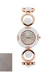 Недорогие -Персональный подарок Женская мода Серебряный набор золотой тон Открыть ссылку браслет кварцевые аналоговые гравированные Часы
