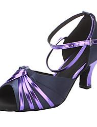 Mulheres Satin & couro com tira no tornozelo Sandálias Sapatos de dança latino