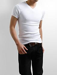 Herren T-shirt-Einfarbig Freizeit / Sport Baumwollmischung Kurz-Schwarz / Lila / Weiß / Grau