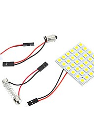 5050 SMD 36 LED Warm White Dome Bulb Light for Car Interior with 3 Adapters
