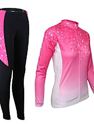Arsuxeo Cycling Jersey with Tights Women's Long Sleeves Bike Tights Clothing Suits Thermal / Warm Quick Dry Front Zipper Breathable 3D Pad