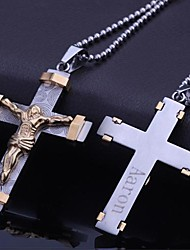 Personalized Gift Stainless Steel Jewelry Jesus Cross Shaped  Engraved Pendant Necklace Jewelry with 60cm Chain