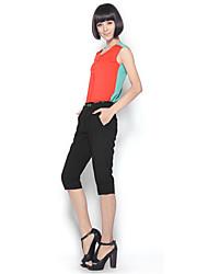 economico -Dolce al collo di Zoely Donna Shirt Chiffon Colore Sleeveless T Solid 101121T055