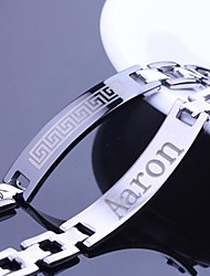 Personalized Gift Wall Pattern Design Men's Jewelry Stainless Steel  Engraved ID Bracelets 1.2cm Width