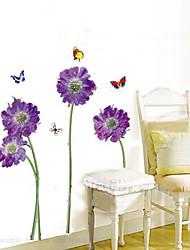 Недорогие -1PCS Красочные бабочки над цветами к окружающей среде Стикер стены