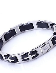 Personalized Gift Men's Jewelry Stainless Steel and Silicone Engraved ID Bracelets 1.2cm Width