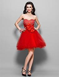 A-Line Princess Strapless Sweetheart Knee Length Tulle Stretch Satin Cocktail Party Homecoming Sweet 16 Holiday Dress with Beading Bow(s)