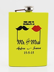 cheap -Personalized Gift Yellow 8oz Stainless Steel Hip Flask - Mr. And Mrs.