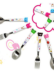 Travel Cartoon Animal Baby Spoon Stainless Steel for Kids Random Color
