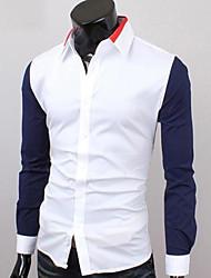 Herren Hemd-Einfarbig Freizeit Baumwollmischung Lang Schwarz / Blau