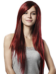 cheap -Capless Extra Long Straight Red Synthetic Wigs Side Bang