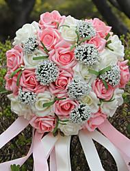 economico -Bouquet sposa Tondo Rose Bouquet Matrimonio Partito / sera Schiuma 26cm