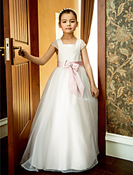 cheap -A-Line Ankle Length Flower Girl Dress - Organza Short Sleeves Square Neck with Bow(s) Lace Sash / Ribbon Pleats Ruffles by LAN TING BRIDE®