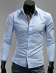 U2M2 Herrenmode Light Blue Buckle Revers Neck-Shirt