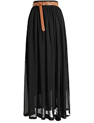 cheap -Women's Vintage Chiffon Pleated Maxi Skirt, Solid Black Red Pink Blue