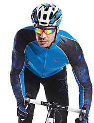 cheap -Mysenlan Men's Long Sleeve Cycling Jersey - Black / Blue Bike Jersey, Thermal / Warm, Quick Dry, Breathable Spandex