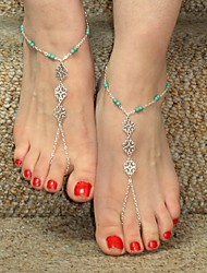 cheap -Anklet Barefoot Sandals - Flower Personalized, Unique Design, European Silver-Blue For Christmas Gifts Daily Casual Women's