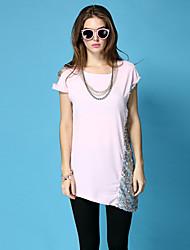 Das ZYH Mulheres Rodada Neck T-shirt longo da cor sólida sem mangas