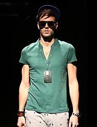 Viishow Мужская V шеи вскользь хлопка с коротким рукавом Тонкая футболка TD14442