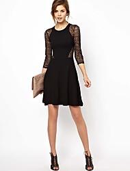 Kvinder Fretwork Slim High-elastik i taljen Lace Dress
