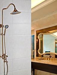 Недорогие -Смеситель для душа - Античный Золотая роза На стену Керамический клапан Bath Shower Mixer Taps / Латунь