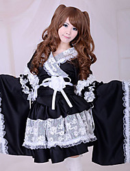 cheap -Wa Lolita Dress Traditional Lace Satin Women's Japanese Traditional Kimono Cosplay Poet Long Sleeves Medium Length