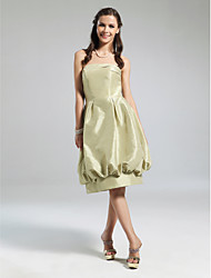cheap -Ball Gown Strapless Knee Length Taffeta Bridesmaid Dress with Draping by LAN TING BRIDE®