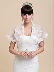 Wedding  Wraps Shrugs Short Sleeve Lace Ivory Wedding / Party/Evening / Casual Open Front