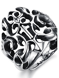 Cool Personality Domineering Punk Hollow-Out The Cross Titanium Steel Foundry Men's Ring