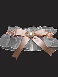 cheap -Garter Satin Tulle Bowknot Imitation Pearl Gold Wedding Accessories