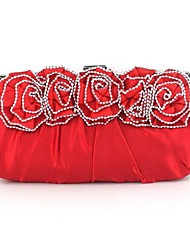 Women Bags Silk Evening Bag Crystal/ Rhinestone Flower for Wedding Black Silver Red